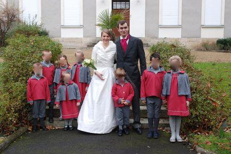 Cortège Claire: framboise et gris, et robe de mariée