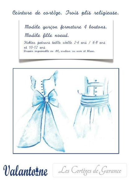 Patrons de ceintures SIMPLE et 3 plis pour enfants d'honneur