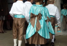 Cortège Constance: soie turquoise et chocolat
