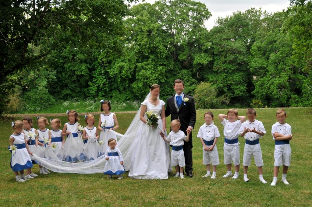 Enfants d honneur blanc et bleu