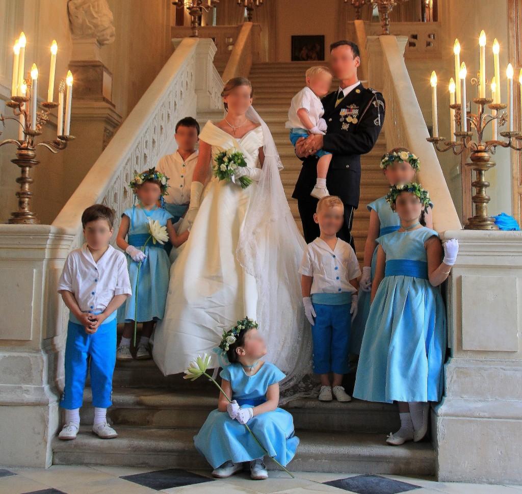 enfants d honneur turquoise et blanc