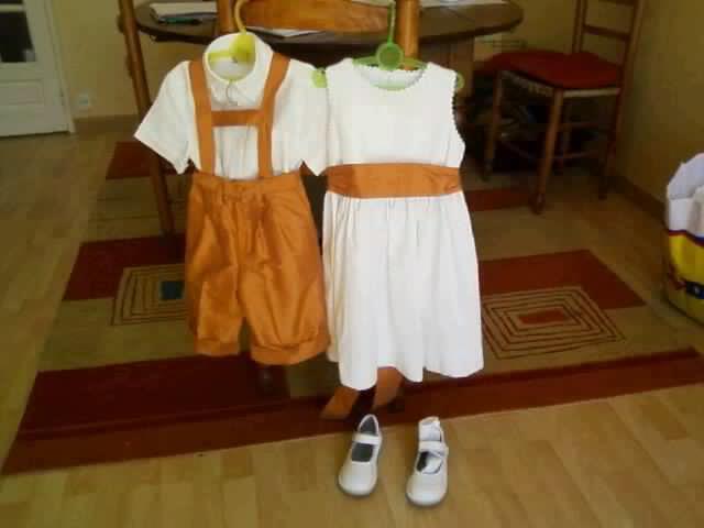 Enfants d honneur blanc orange