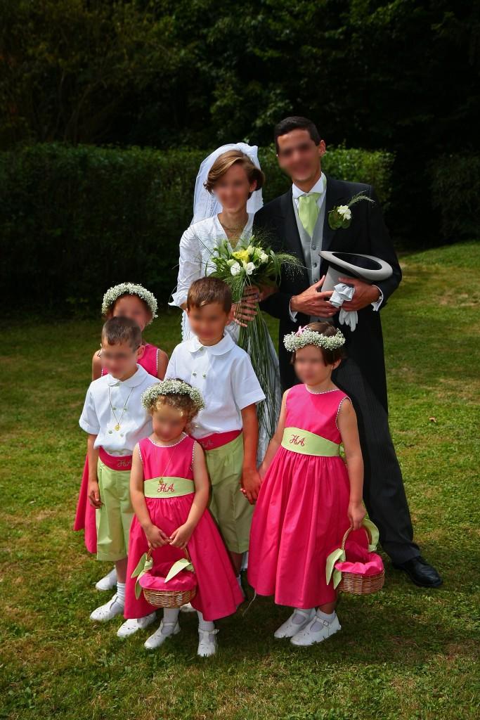 enfants d honneur fuchsia et anis