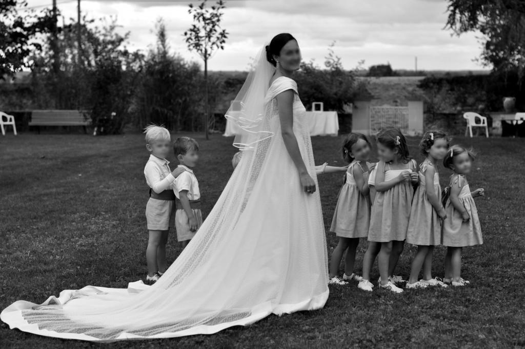 Robe de mariée de Pauline: organza et plumetis