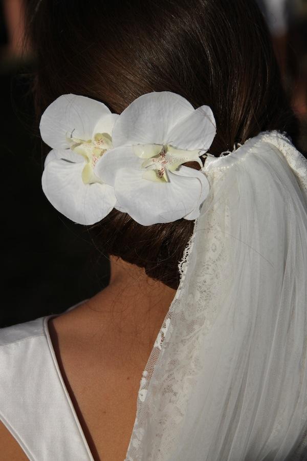 Chignon orchidee voile