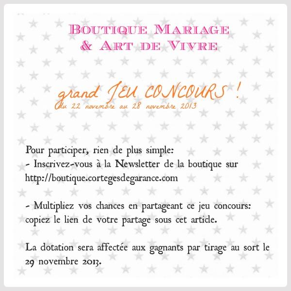 Grand jeu concours: boutique Mariage & Art de Vivre