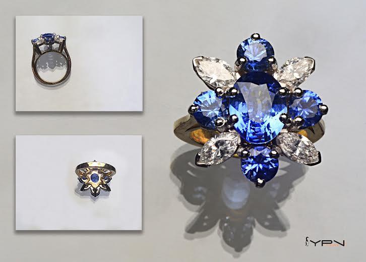 Bague de fiançailles de Lucille: Saphirs et diamants navette