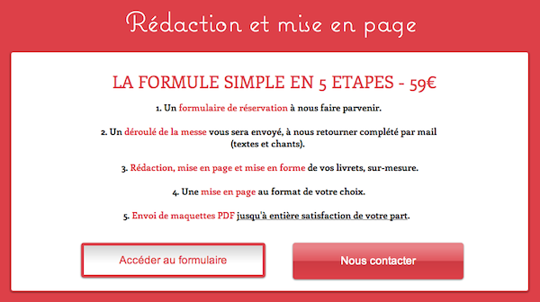 formule livret messe simple