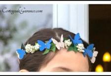 Cortège Lucille: Bleu roi, beige et couronne papillons