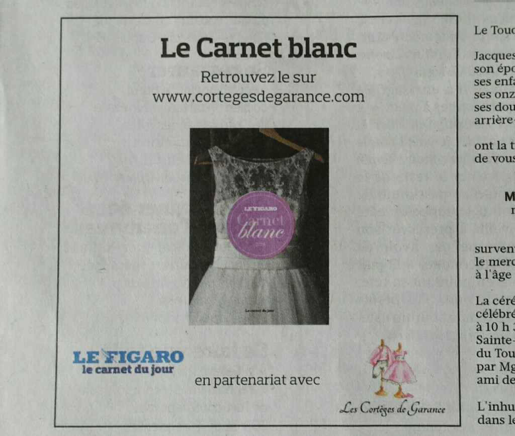 Les Cortèges de Garance, partenaires du Carnet Blanc du Figaro