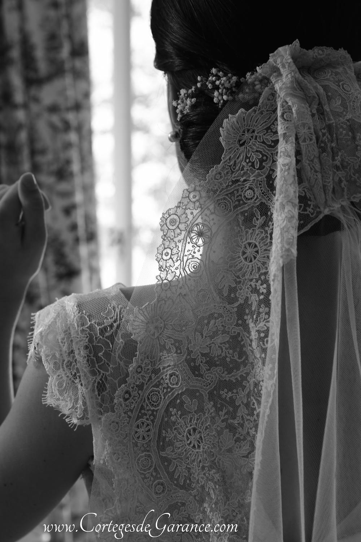 Voile de mariée de Lorraine: tulle bordé de dentelles