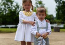 Cortège Mathilde: Robe à empiècement arrondi et culottes courtes