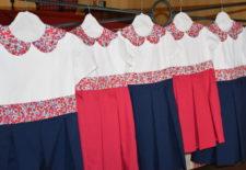 Cortège Clotilde: Bleu marine, Framboise et Liberty