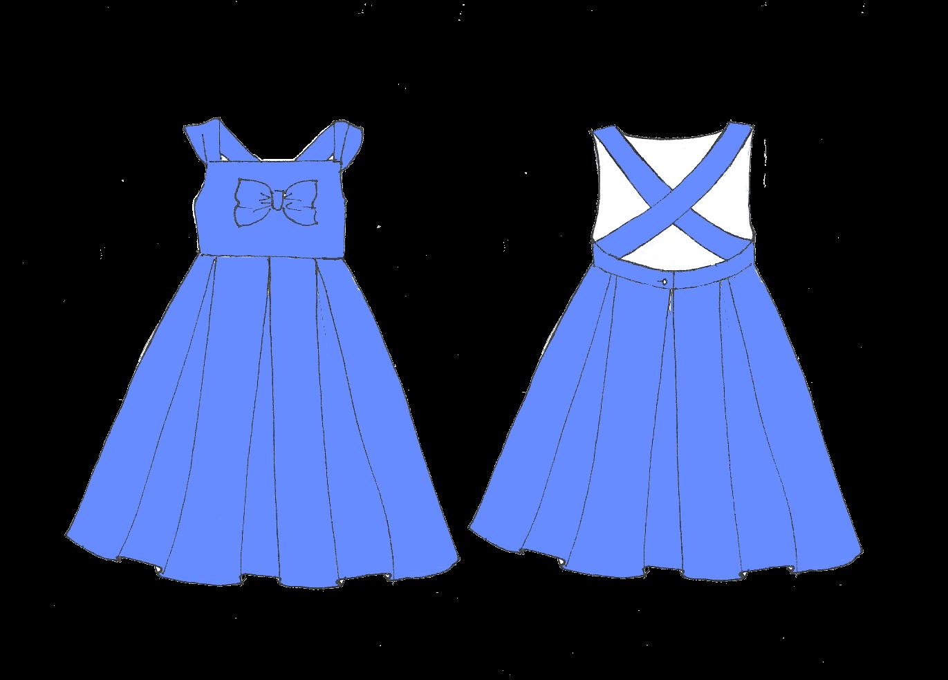 Robe Bleuet: Robe d'été à bretelles et jupe 3 plis creux