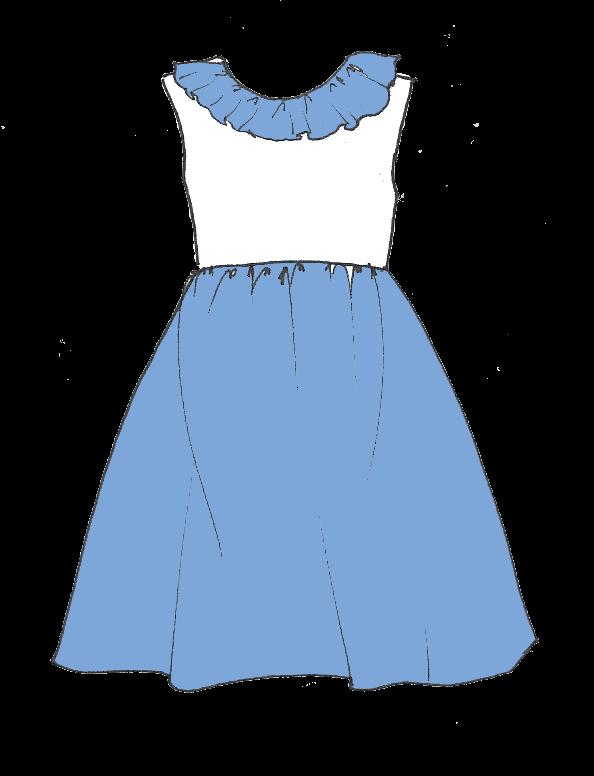 Patron robe col volanté