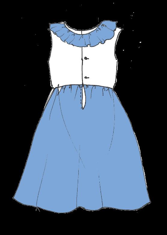 Robe Iris à col volanté